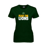 Ladies Dark Green T Shirt-Fear The Lions