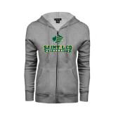 ENZA Ladies Grey Fleece Full Zip Hoodie-Saint Leo University - Official Logo