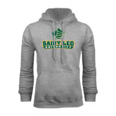 Grey Fleece Hoodie-Saint Leo University - Official Logo