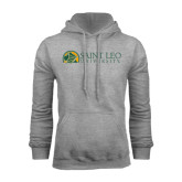 Grey Fleece Hoodie-Saint Leo University - Institutional Mark Flat