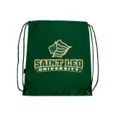 Nylon Dark Green Drawstring Backpack-Saint Leo University - Official Logo