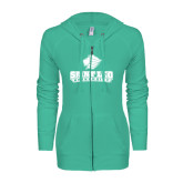 ENZA Ladies Seaglass Light Weight Fleece Full Zip Hoodie-Saint Leo University - Official Logo