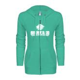 ENZA Ladies Seaglass Light Weight Fleece Full Zip Hoodie-Saint Leo University - Official Logo
