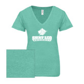 ENZA Ladies Seaglass Melange V Neck Tee-Saint Leo University - Official Logo