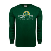 Dark Green Long Sleeve T Shirt-Saint Leo University - Institutional Mark