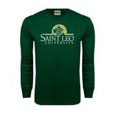Dark Green Long Sleeve T Shirt-Saint Leo University - Institutional Mark