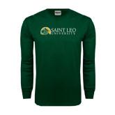 Dark Green Long Sleeve T Shirt-Saint Leo University - Institutional Mark Flat