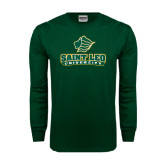 Dark Green Long Sleeve T Shirt-Saint Leo University - Official Logo Distressed