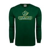 Dark Green Long Sleeve T Shirt-Saint Leo University - Official Logo Distressed