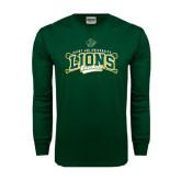 Dark Green Long Sleeve T Shirt-Baseball Crossed Bats Design