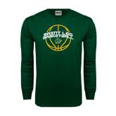 Dark Green Long Sleeve T Shirt-Basketball Ball Design