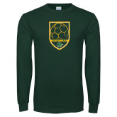 Dark Green Long Sleeve T Shirt-Soccer Swoosh Design