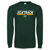Dark Green Long Sleeve T Shirt-Cross Country and Track Design