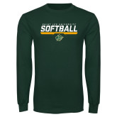 Dark Green Long Sleeve T Shirt-Softball Script Design