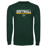 Dark Green Long Sleeve T Shirt-Softball Script Design