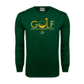 Dark Green Long Sleeve T Shirt-Golf Flag Design