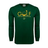 Dark Green Long Sleeve T Shirt-Golf Flag Design
