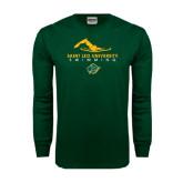 Dark Green Long Sleeve T Shirt-Swimmer Design