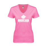 Next Level Ladies Junior Fit Deep V Pink Tee-Saint Leo University - Official Logo