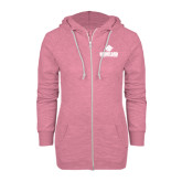 ENZA Ladies Hot Pink Marled Full Zip Hoodie-Saint Leo University - Official Logo