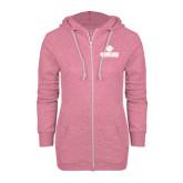 ENZA Ladies Hot Pink Marled Full Zip Hoodie-Saint Leo University - Official Logo