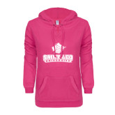 ENZA Ladies Hot Pink V Notch Raw Edge Fleece Hoodie-Saint Leo University - Official Logo
