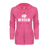 ENZA Ladies Hot Pink Light Weight Fleece Full Zip Hoodie-Saint Leo University - Official Logo