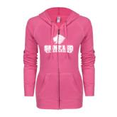 ENZA Ladies Hot Pink Light Weight Fleece Full Zip Hoodie-Saint Leo University - Official Logo