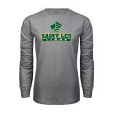 Grey Long Sleeve T Shirt-Saint Leo Lions