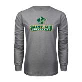 Grey Long Sleeve T Shirt-Saint Leo University - Official Logo