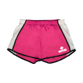 Ladies Fuchsia/White Team Short-Saint Leo University - Official Logo