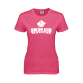 Ladies Fuchsia T Shirt-Saint Leo University - Official Logo