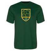 Performance Dark Green Tee-Soccer Swoosh Design