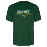 Performance Dark Green Tee-Softball Script Design