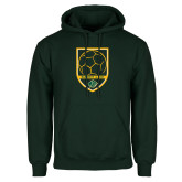 Dark Green Fleece Hood-Soccer Swoosh Design