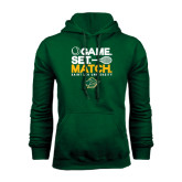 Dark Green Fleece Hood-Game Set Match Tennis Design