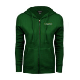 ENZA Ladies Dark Green Fleece Full Zip Hoodie-Saint Leo University