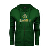 ENZA Ladies Dark Green Fleece Full Zip Hoodie-Saint Leo University - Official Logo