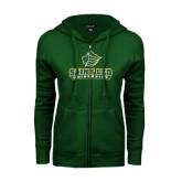 ENZA Ladies Dark Green Fleece Full Zip Hoodie-Saint Leo University - Official Logo