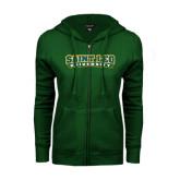 ENZA Ladies Dark Green Fleece Full Zip Hoodie-Saint Leo University