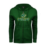 ENZA Ladies Dark Green Fleece Full Zip Hoodie-Saint Leo Lions