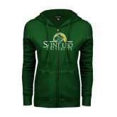 ENZA Ladies Dark Green Fleece Full Zip Hoodie-Saint Leo University - Institutional Mark
