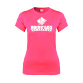Ladies Performance Hot Pink Tee-Saint Leo University - Official Logo
