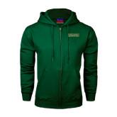 Dark Green Fleece Full Zip Hoodie-Saint Leo University