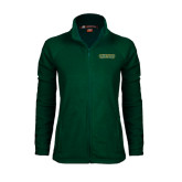 Ladies Fleece Full Zip Dark Green Jacket-Saint Leo University