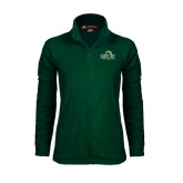 Ladies Fleece Full Zip Dark Green Jacket-Saint Leo University - Institutional Mark