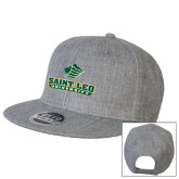 Heather Grey Wool Blend Flat Bill Snapback Hat-Saint Leo University - Official Logo