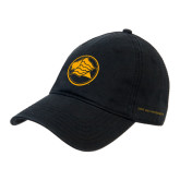 Black Twill Unstructured Low Profile Hat-Lion Head in Circle