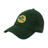Dark Green Twill Unstructured Low Profile Hat-Lion Head in Circle