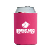 Collapsible Hot Pink Can Holder-Saint Leo University - Official Logo
